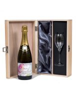 Champagne with flute in wooden box