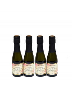 Miniature personalised Prosecco pink label