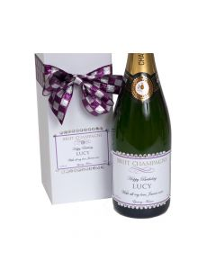 Personalised Champagne with Crystal Gems in Bejewelled White Gift Box