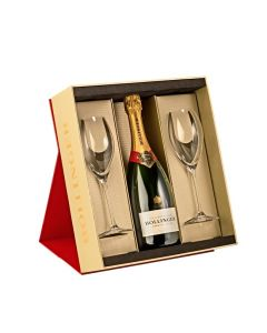 Bollinger Special Cuvée Champagne with 2 Bollinger Flutes and Gift Box