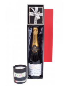 Personalised Champagne and Scented Glass Candle Gift Set