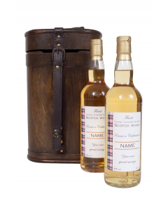 """The """"Grosvenor"""" - Duo of Personalised Scotch Whisky - Malt and Blended in Vintage Bottle Case"""