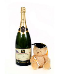 Personalised Graduation Prosecco Magnum with Bear