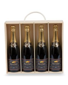 Four Bottles of Corporate Branded Champagne in a Wooden Box