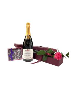 """""""Special Moments"""" - Personalised Prosecco & Fresh Pink Rose with Rose & Violet Creams"""