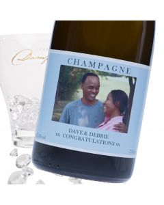 """Luxury Grande Reserve Champagne - """"Baby Blue"""" Photo Label"""