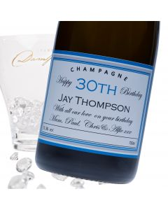 """Luxury Grande Reserve Champagne - """"Blue Birthday"""" Label Suitable For Any Age"""