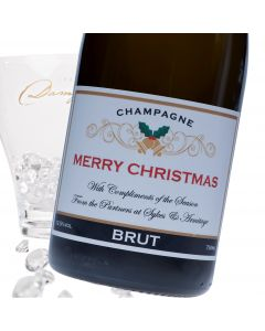 """Luxury Grande Reserve Champagne - """"Merry Christmas"""" Black & Gold Label"""