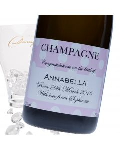 """Luxury Grande Reserve Champagne - """"Polka Dots"""" New Baby Label"""