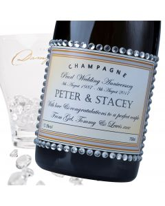 """Luxury Grande Reserve Champagne - """"Wedding Anniversary"""" Label with Diamante Crystals"""