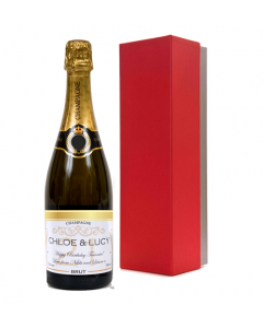 Personalised Champagne in Red & Silver Presentation Box