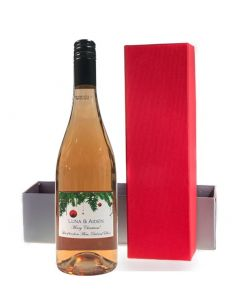Personalised Christmas Wine Syrah Rosé - in Red Presentation Box