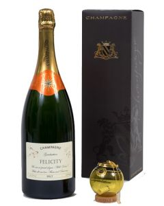 """Personalised Graduation Champagne Magnum - with """"Keep The Cork"""" Congratulations Gold Bubbly Bauble"""