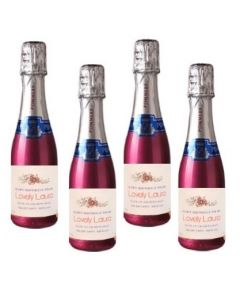 4 x Personalised Mini Champagne - Pink Pommery POP