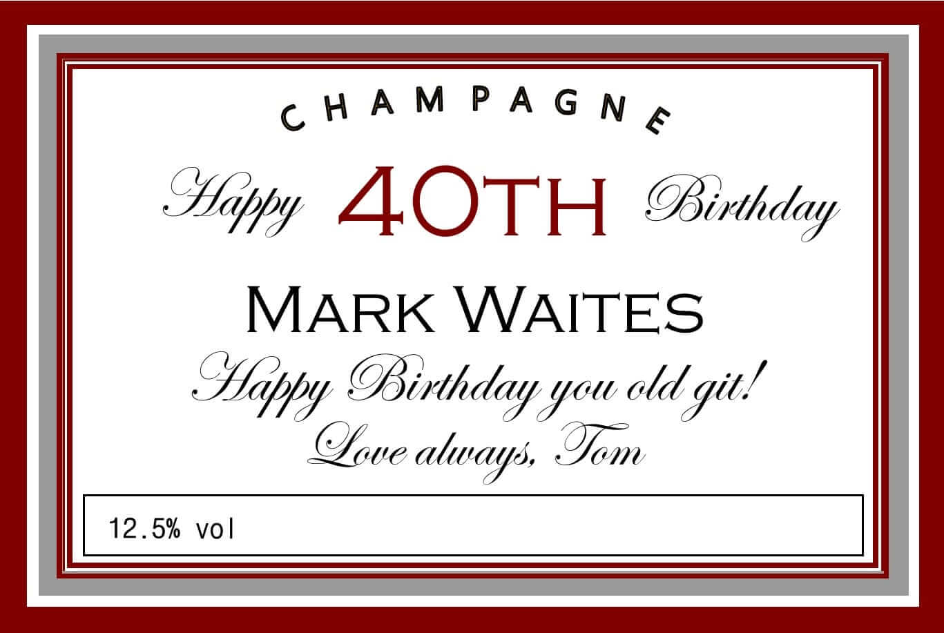 personalised birthday champagne label maroon silver