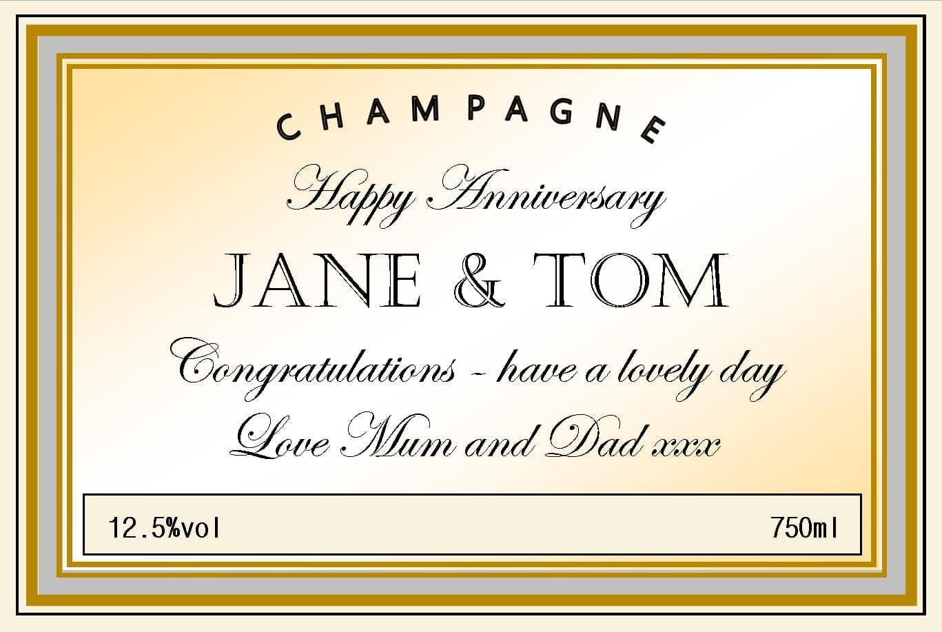 personalised champagne anniversary cream silver