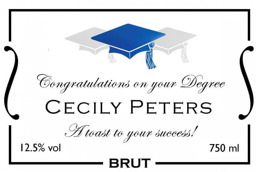personalised champagne graduation label blue