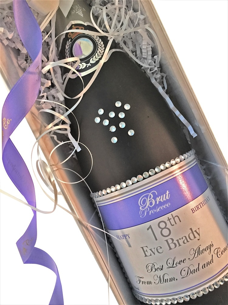 personalised prosecco with crystal gems