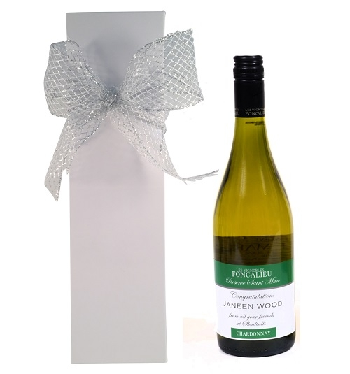 personalised wine in white gift box
