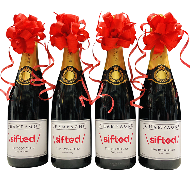personalized champagne branded with company logo