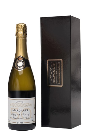 black champagne and gift company box with bottle champagne