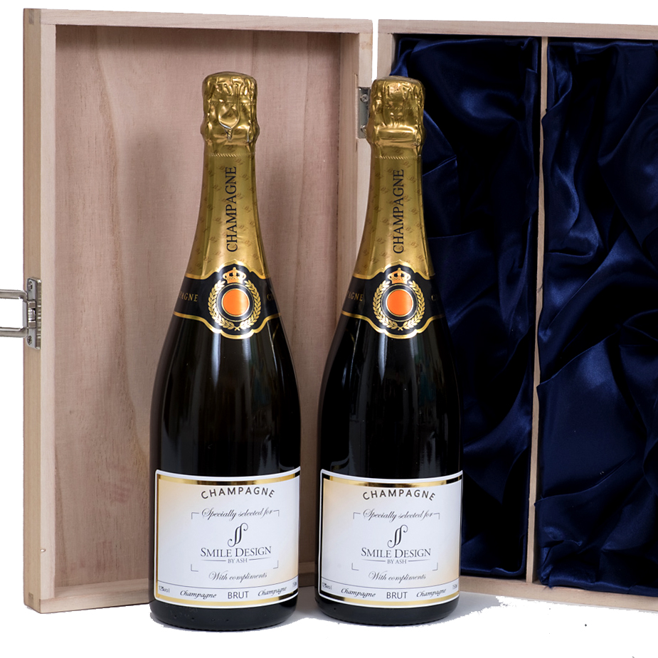 personalised champagne in gift box