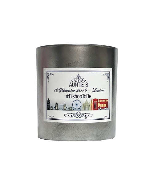 Personalised Scented candle silver