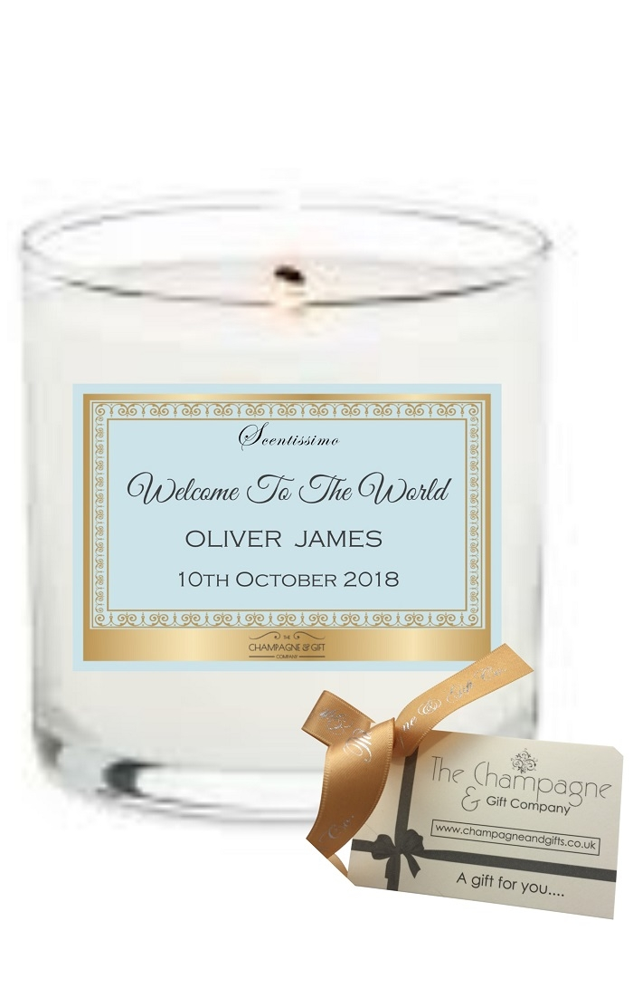 Personalised Scented candle gift to celebrate new baby