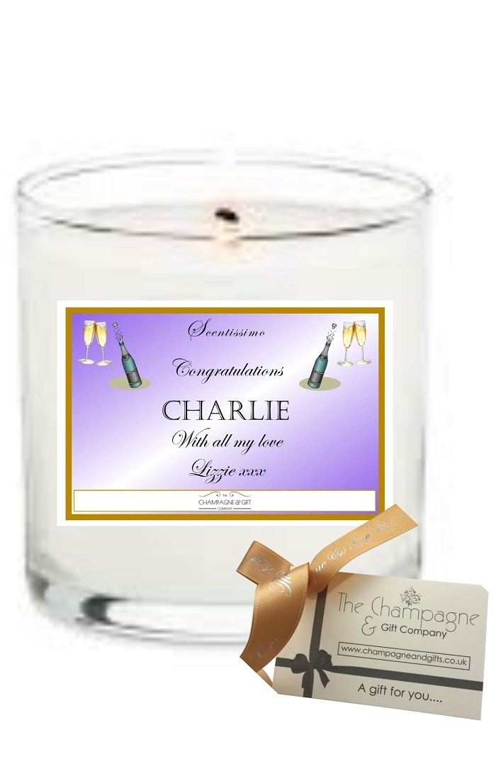 Personalised Scented candle gift to say congratulations