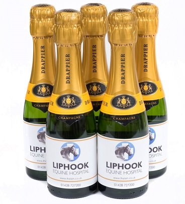 mini champagne bottles for an event