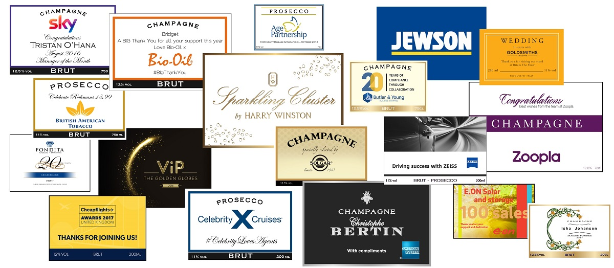 corporate champagne labels designed for customers