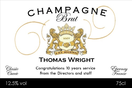business champagne label