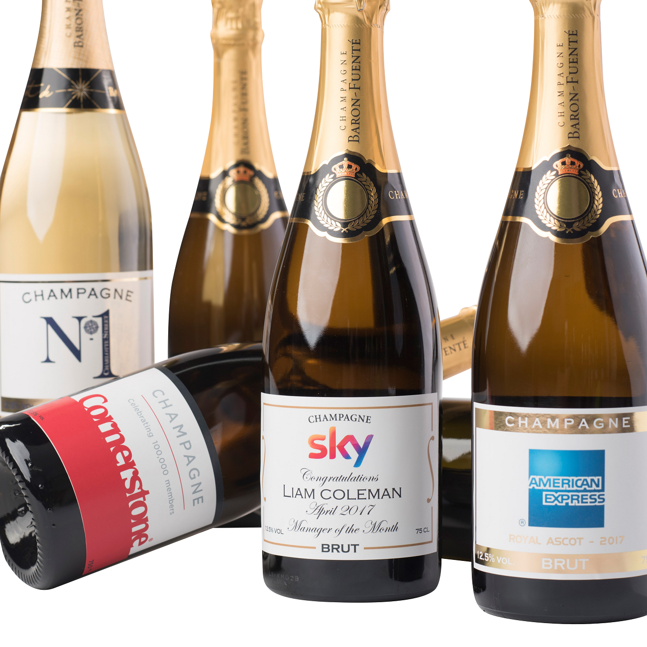 corporate champagne bottles showing different labels