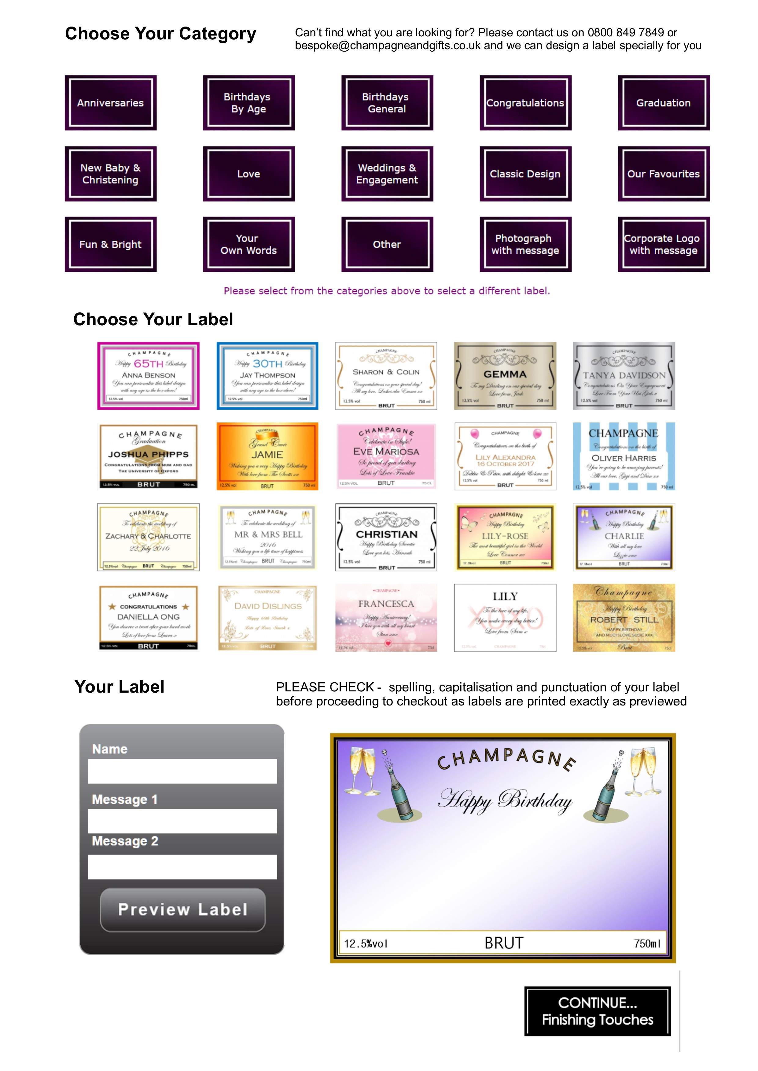 Create a personalised label page