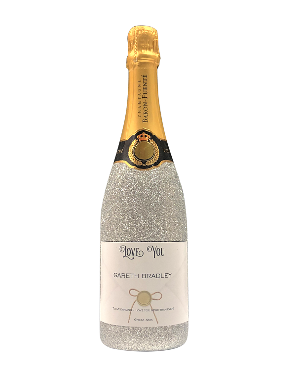 Champagne with crystal gems silver