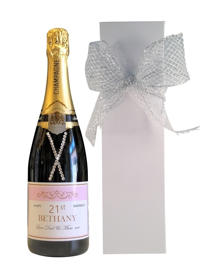 Champagne with crystal gems in-white-box