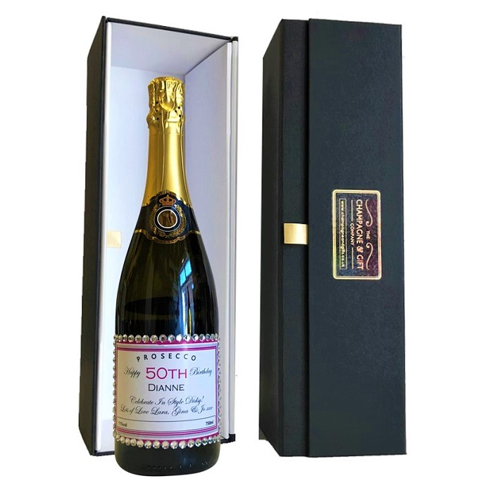 Decorated Champagne Bottle with Crystals in Giftbox