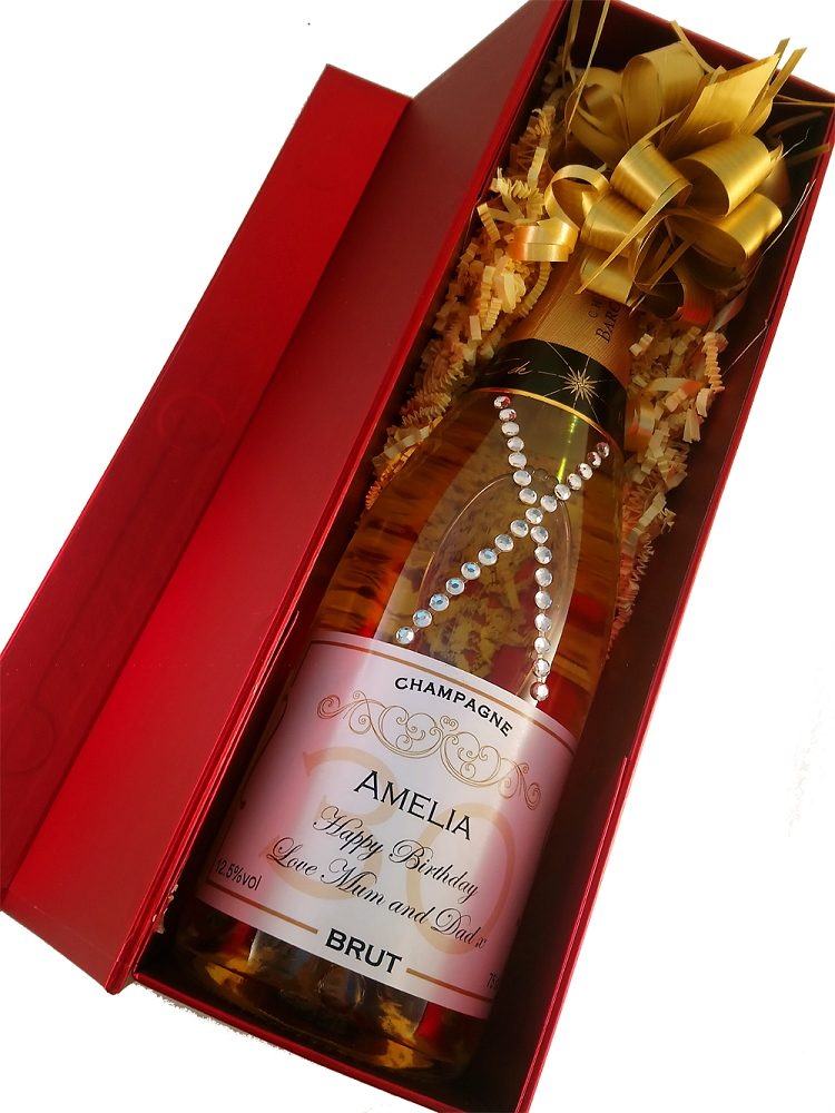 personalised champagne boxed with crystals