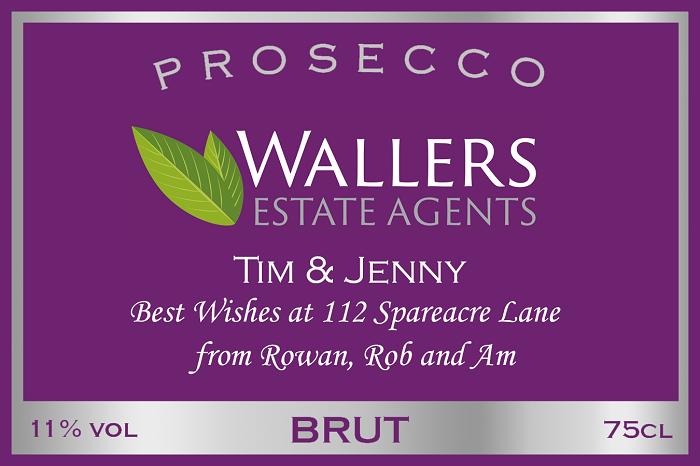 branded prosecco label for estate agent