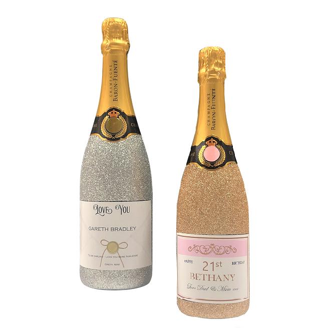 Gold & Silver Glitter Champagne Bottles