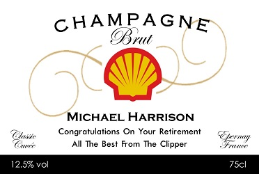 award corporate champagne label