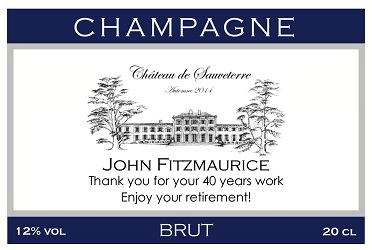 personalized champagne label thank you