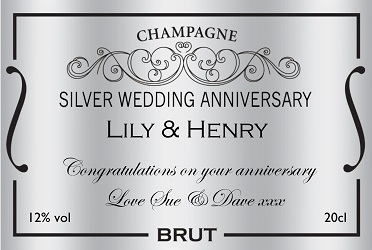 personalized champagne label silver wedding anniversary
