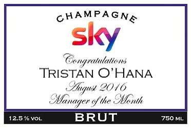 personalized champagne label sky
