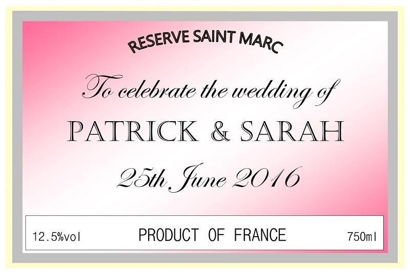 Wedding Day Personnalised Wine Label
