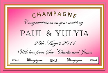 personalized champagne label wedding pink