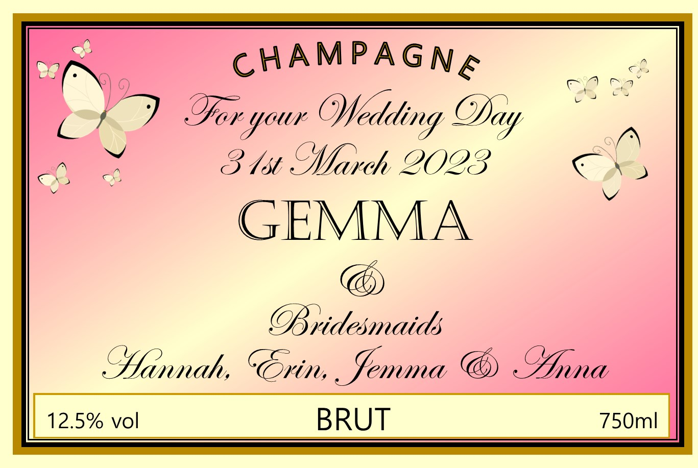 personalised-champagne-pink-butterflies