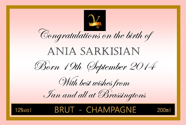 personalized champagne label new baby girl