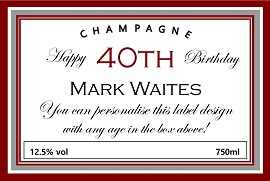 personalized champagne label 40th birthday