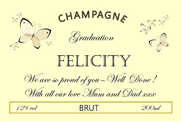 personalized champagne label graduation butterflies